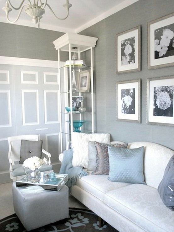 I ve got the blues over gray susy home maker for Grey and white living room ideas